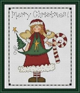 Cross-Stitch Embroidery Color Pattern with DMC codes - Christmas Angel