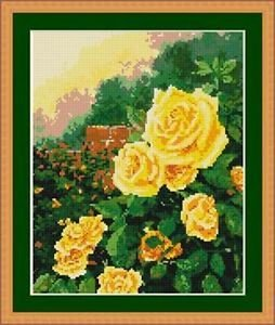 Cross-Stitch Embroidery Color Pattern with DMC thread codes - Yellow Rose Garden