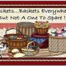 Primitive Country Folk Art Kitchen Refrigerator Magnet - I love Baskets!