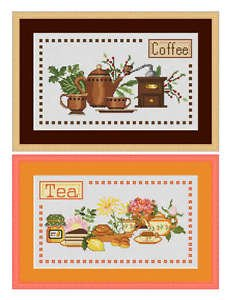 Cross-Stitch Embroidery Color Pattern with DMC codes - 2 Designs - Coffee & Tea