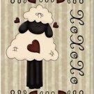 Primitive Country Folk Art Kitchen Refrigerator Magnet - Cute Love Sheep #2