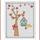 Cross-Stitch Embroidery Color Pattern with DMC codes - Summer Birdhouse