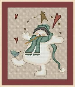 Cross-Stitch Embroidery Color Pattern with DMC thread codes - Country Snowman