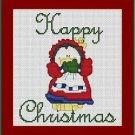 Cross-Stitch Embroidery Color Pattern with DMC thread codes - Happy Christmas