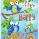 Primitive Country Folk Art Kitchen Refrigerator Magnet - Live Happy Owls