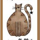 Primitive Country Folk Art Kitchen Refrigerator Magnet - Cute Fat Fluffy Cat