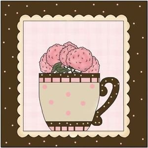 Primitive Country Folk Art Kitchen Refrigerator Magnet - A Cup of Flower #2