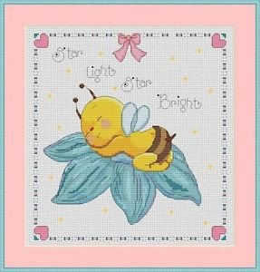 Cross-Stitch Embroidery Color Pattern with DMC codes -  Little Baby Bee #2
