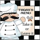Primitive Country Folk Art Kitchen Refrigerator Magnet - Today's menu
