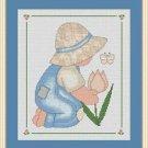 Cross-Stitch Embroidery Color Digital Pattern w. DMC codes -Little Bonnet Boy #2