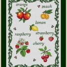 Cross-Stitch Embroidery Color Pattern with DMC codes - Fruit Sampler