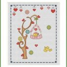 Cross-Stitch Embroidery Color Pattern with DMC codes - Summer Birdhouse #2