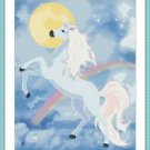 Cross-Stitch Embroidery Color PATTERN with DMC thread codes - Rainbow Unicorn