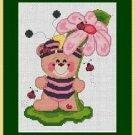 Cross-Stitch Embroidery Color Pattern DMC thread codes- Ladybug Teddy