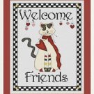 Cross-Stitch Embroidery Color Pattern with DMC codes - Welcome Friends Cat