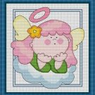 Cross-Stitch Embroidery Color Pattern with DMC codes - Cute Pink Hair Angel
