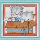 Cross-Stitch Embroidery Color Pattern DMC thread codes- A Box of Kitten
