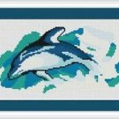 Cross-Stitch Embroidery Color Pattern with DMC codes - Beautiful Dolphin