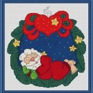 Cross-Stitch Embroidery Color Pattern with DMC thread codes - Sleeping Santa