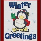 Cross-Stitch Embroidery Color Pattern with DMC thread codes - Winter Greetings