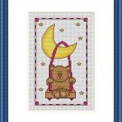 Cross-Stitch Embroidery Color Digital Pattern w. DMC codes - Teddy on the Moon