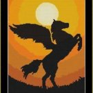 Cross-Stitch Color Embroidery Pattern with DMC codes - Sunset Pegasus