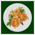 Cross-Stitch Embroidery Color Pattern with DMC codes - Yellow Victorian Roses