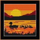 Cross-Stitch Color Embroidery Pattern with DMC codes - Sunset Ducks