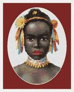 Cross-Stitch Embroidery Color Pattern w. DMC thread codes - African Princess