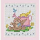 Cross-Stitch Color Embroidery Pattern with DMC codes - Garden Kittens