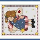 Cross-Stitch Embroidery Color Digital Pattern w. DMC codes - USA Country Angel