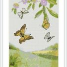 Cross-Stitch Embroidery Color Digital Pattern w. DMC codes - Butterfly Dance #3