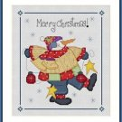 Cross-Stitch Embroidery Color Pattern with DMC thread codes - Patchwork Snowman