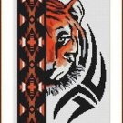 Cross-Stitch Color Embroidery Pattern with DMC codes - Native Tiger