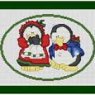 Cross-Stitch Embroidery Color Pattern DMC thread codes- Christmas Penguin Couple