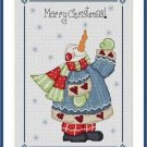 Cross-Stitch Embroidery Color Pattern with DMC thread codes-Patchwork Snowman #2