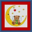 Cross-Stitch Embroidery Color Pattern with DMC codes -  Moon Teddy Bear #2