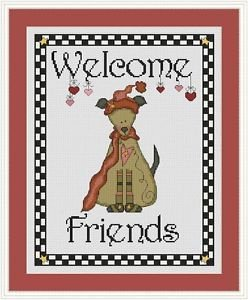 Cross-Stitch Embroidery Color Pattern with DMC codes - Welcome Friends Dog