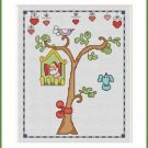 Cross-Stitch Embroidery Color Pattern with DMC codes - Summer Birdhouse #4