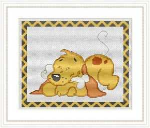 Cross-Stitch Embroidery Color Pattern with DMC codes - Happy Puppy #3