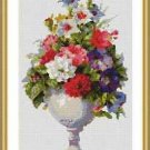 Cross-Stitch Embroidery Color Pattern with DMC codes - Beautiful Victorian Vase
