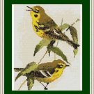 Cross-Stitch Embroidery Color Pattern with DMC codes - Two Little Yellow Birds