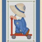 Cross-Stitch Embroidery Color Digital Pattern w. DMC codes - Little Bonnet Boy