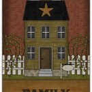 Primitive Country Folk Art Kitchen Refrigerator Magnet - Prim House - Family