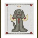 Cross-Stitch Embroidery Color Pattern with DMC codes - Cute Puppy Angel
