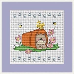 Cross-Stitch Color Embroidery Pattern with DMC codes - Garden Kitten