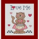 Cross-Stitch Embroidery Color Pattern with DMC codes - Love Me Cat Family #1