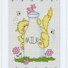 Cross-Stitch Color Embroidery Pattern with DMC codes - Cat Loves Milk