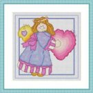 Cross-Stitch Embroidery Color Pattern with DMC codes - Cute Patchwork Angel #4