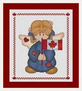 Cross-Stitch Embroidery Color Digital Pattern w. DMC codes -Canada Country Angel
